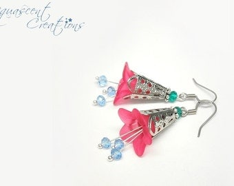 Lucite flower earrings, hot pink bell flower earrings, filigree silver, pink and blue earrings, dangle flowers earrings, spring earrings