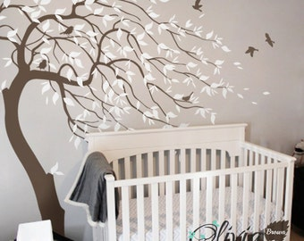Large nursery Blowing  Tree Wall Mural Decal Sticker -NT032