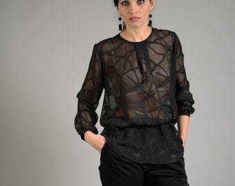 See Through Top, Black Lace Top, Sheer Black Top, Black Blouse, Black Party Top, Black Fashion, Casual Blouse, Evening Top, Sexy Black Top