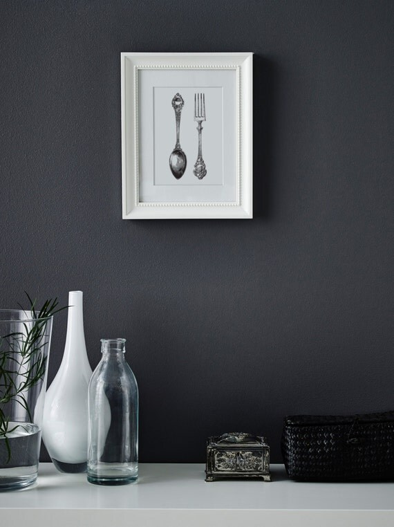 Dining Room Wall Decor Etsy : Items similar to bon appetit fork and spoon wall art