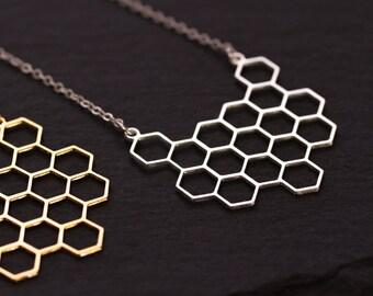 Honeycomb necklace, lasercut, plating high quality, matte finish