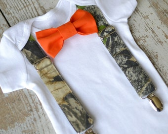 Baby Boy Clothes Camo Suspenders Orange Bow Tie Boys Camouflage Tuxedo  First Birthday Coming Home Outfit