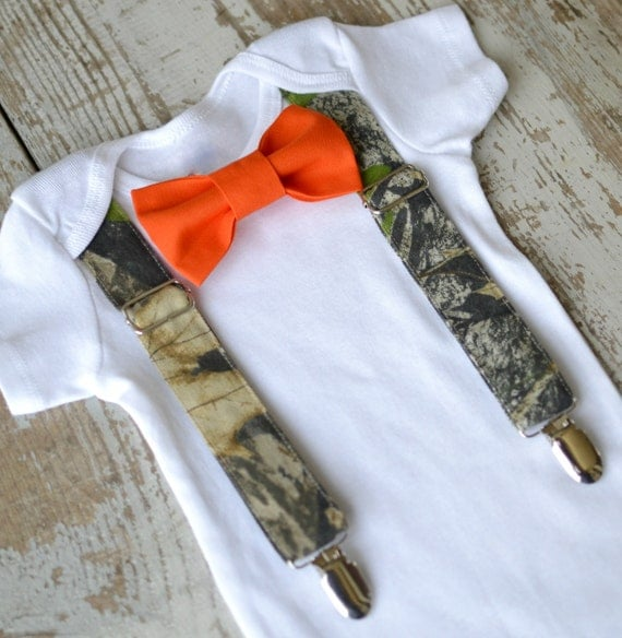baby boy clothes camo suspenders orange bow tie boys