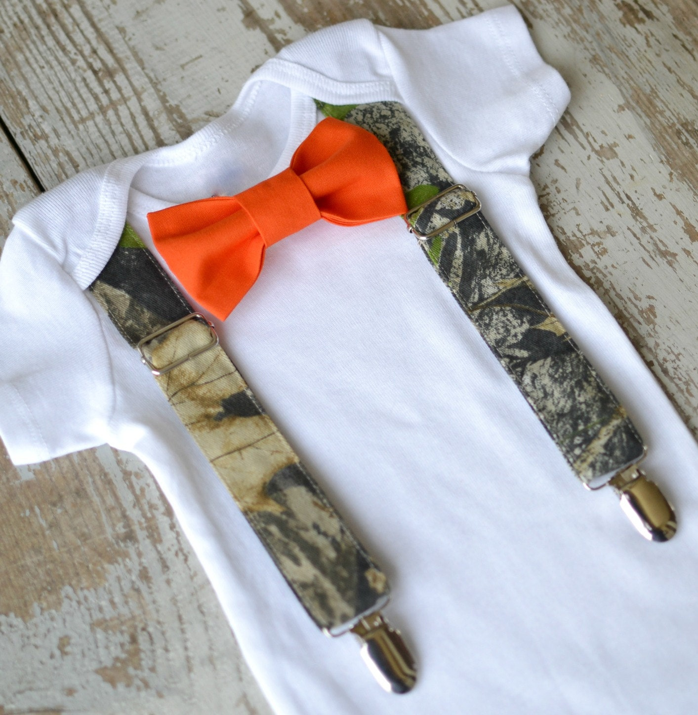 baby boy clothes camo suspenders orange bow tie boys camouflage tuxedo first birthday coming home outfit - Orange Camo Wedding Rings