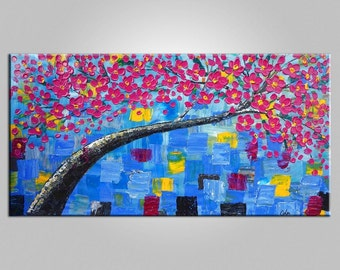 Extra Large Oil Painting Canvas Art Framed Painting Original Art Abstract Art Canvas Oil Painting Flower Tree Painting Contemporary Wall Art