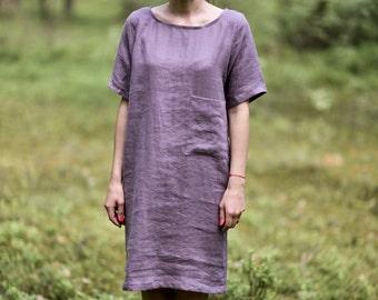 Washed Linen dress. Women dress. Working tunica.