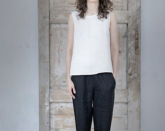 Washed soft linen pants. Trousers with elastic waist. Japanese style pants.