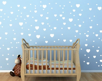 White Heart Wall Decals Set of 168, nursery art gold wall decals wall pattern,Romantic bedroom Hearts wall decal pattern,Gold heart (fs 111)