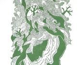 Woodblock Original Print Green Burden Woman Head Profile Large Print