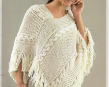 Popular items for cable poncho aran on Etsy