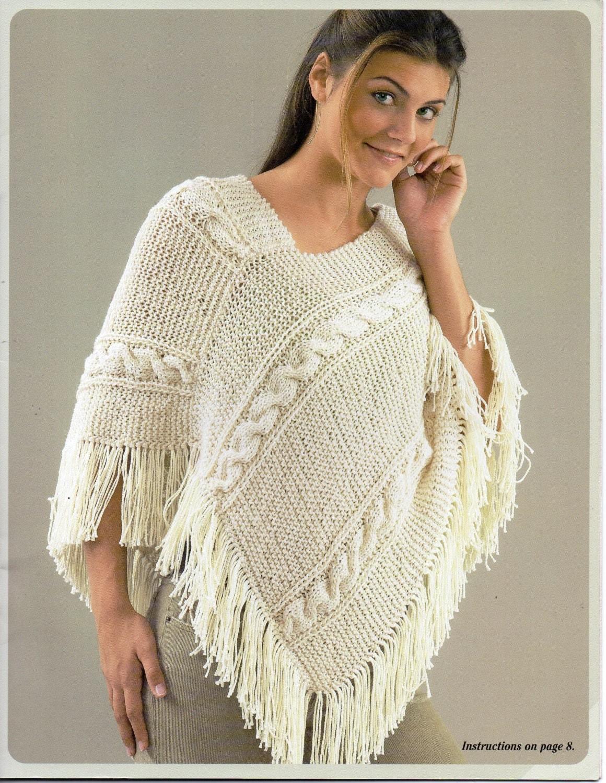 womens poncho knitting pattern aran poncho fringed poncho Size