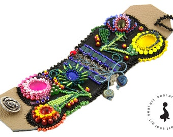 KRAKOWIANKA - polish FOLK Bead Embroidery bracelet on real leather