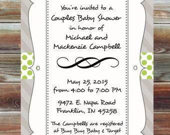 Polka Dot Couples Baby Shower Invitation - Gender Neutral Baby Shower Invite - Polka Dot and Striped Baby Shower Invitation