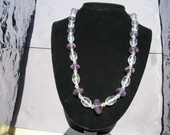 Vintage Amethyst and Crystal Bead Necklace