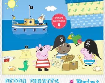 Peppa Pig Pirates digital cliparts for INSTANT DOWNLOAD!