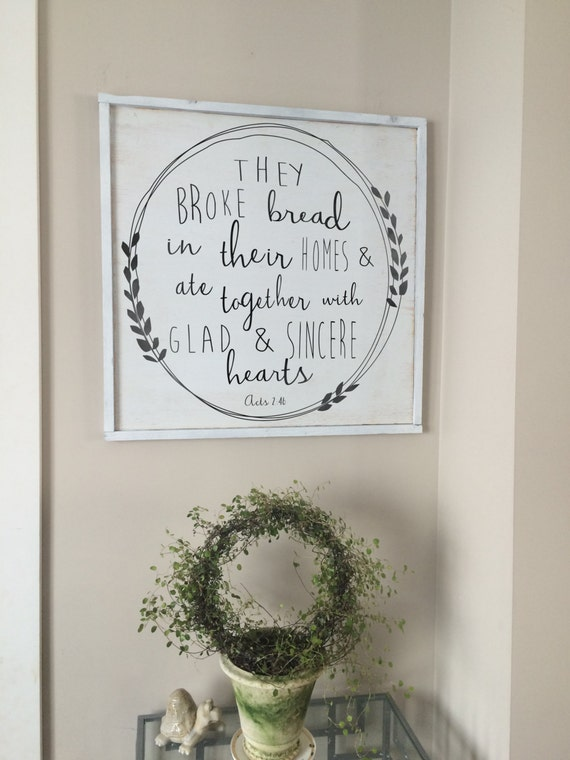Wood art they broke bread acts 2 46 framed wood sign for Etsy dining room wall art