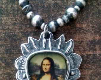 Mona Lisa Sacred Heart Pendant with Navajo Pearls