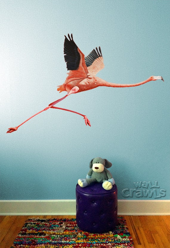 pink flamingo wall mural decal removable and reusable