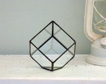 Geometric Terrarium, A Stained Glass Cube Terrarium, Use As a Planter,Wedding Ring Box or a Jewelry Box