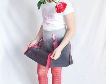 "Felted skirt for girls ""Graphite"""