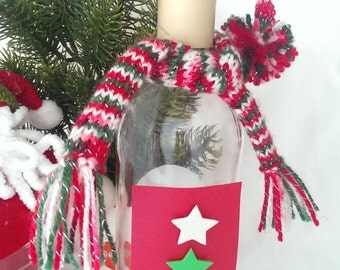 Christmas Wine Bottle Hat & scarf- various colours