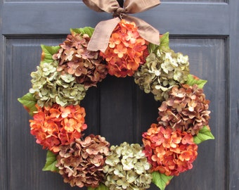 Fall Wreath, Fall Front Door Wreath, Thanksgiving Wreath, Fall Door Decor, Fall Hydrangea Wreath, Autumn Wreath for Front Door, Fall Decor