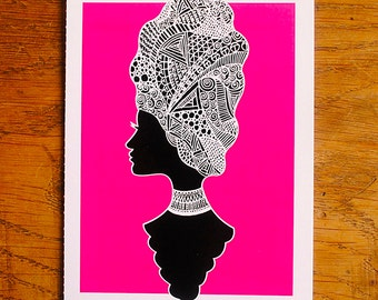 Perforated doodle hair lady card - A6, blank inside, hand drawn, intricate illustration