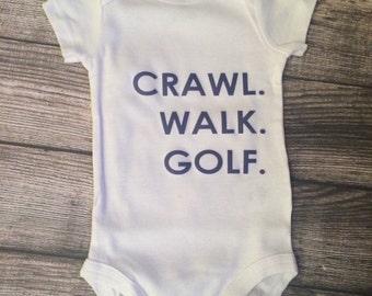 Crawl Walk Golf Short Sleeve bodysuit, Baby Boy, Golf Outfit, baby boy golf, baby boy clothes, golf baby, trendy baby
