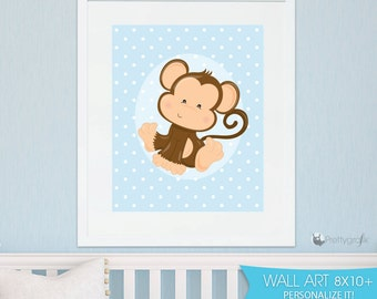 SALE Baby monkey art print, personalized wall art, monkey DIGITAL or PRINTED, nursery print, custom art print, kids wall art - WA135