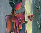 "Original Art Print, Sunset, Woman Looking Out Window, Rain, Yellow Curtains, Pink Orchids, Pink, Purple, Orange, Gray, 11 x 14"", 16 x 20"""