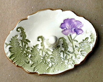 Ceramic Ring Holder Off White Purple flower and ferns edged in gold