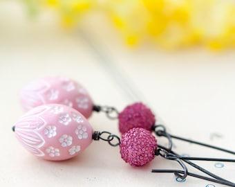 Pink Earrings, Plum Earrings, White Floral Earrings, Mother's Day Gift, BFF Gift, Birthday Gift for Her Mom Sister Aunt under 30 dollars