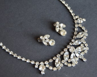 SALE -WEISS Clear Rhinestone Set- Vintage Demi Parure Necklace Earrings Signed Clear Diamante Crystals 1950's 50's 1950s Old Hollywood Glam