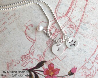 Tiny Disc Necklace. Sterling Silver itty bitty charm & dainty chain. Customize Initials, Monogram,Number, teeny symbol Hypoallergenic metal