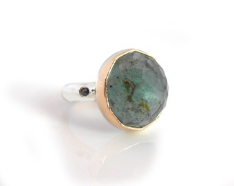 Handmade Moss Aquamarine Gemstone Ring with Recycled 14k gold and Sterling Silver, Black diamond and Rose Tattoo