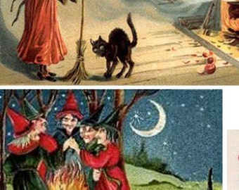 Digital Collage sheet, Halloween Witches Collage, Vintage images, Instant Download and Print, Brooms, Full Moon, Pumpkins, Old Fashioned