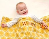 Organic Baby Quilt- Honey Bee Nursery Decor- Baby Quilt with Personalized, Embroidered Name, Yellow Gold