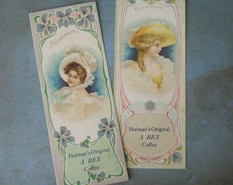 2 Antique Victorian Trade Card Bookmarks REX Coffee Hulman