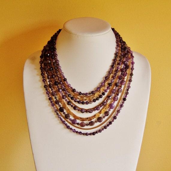 Reclaimed Amethyst statement necklace, amethyst jewelry, beaded jewelry, eco friendly jewelry, big bold necklace, big chunky necklace, OOAK