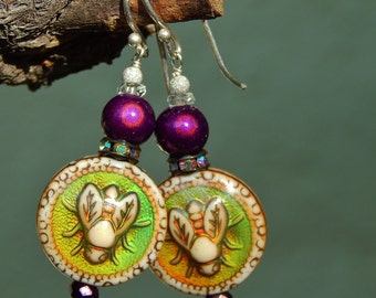 Moody-Bee Earrings - Whimsical Color-Changing Mood Beads, Antique Glass, AB Rhinestone Rondelles, Miracle Beads & Argentium Ear Wires