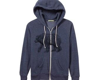 Bear Hoodie, Unisex/Mens, Heather Blue, Illustrated Hoodie, Bear Print -  Eco-Fleece Zip Hoodie - S M L XL 2X