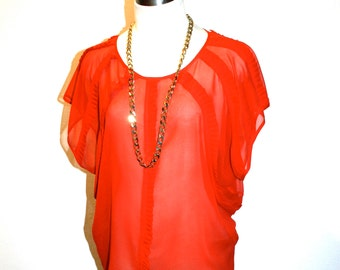 GIANNI VERSACE Vintage Silk Blouse Red Sheer Dolman Top - AUTHENTIC -