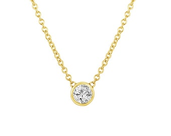 0.53 Carat GIA Solitaire Diamond Pendant Necklace Diamond By The Yard 14k Yellow Gold GVS2 Handmade Low Bezel Set Certified