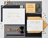 INVITATION SAMPLE The Ballet Suite - Whimsical Gold Foil Wedding Invitation - Heirloom Wedding Invitations by Sincerely, Jackie