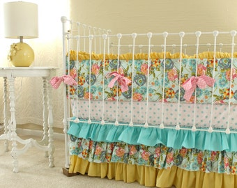Lily Belle Blend Floral Baby Girl Nursery Set in Yellow, Turquoise, and Pink in Custom Crib Baby Bedding
