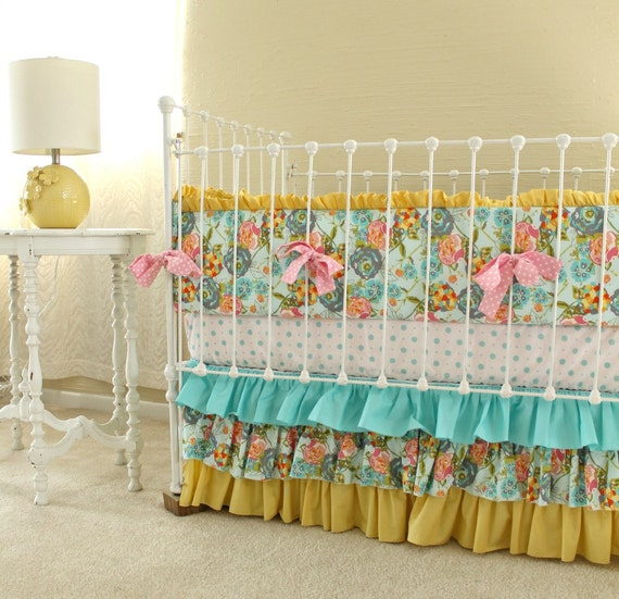 Lily Belle Blend Floral Baby Girl Nursery Set In Yellow