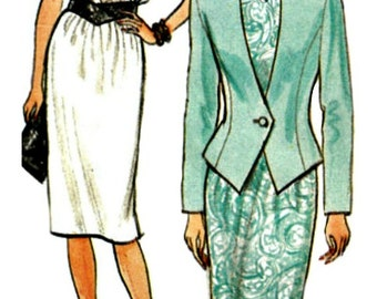 80s Sunday Suit Dress Pattern BUTTERICK 3682  1986 Retro Sewing Pattern for Jacket, Skirt and Top  Multi-sized 8-10-12
