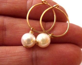 14k Gold Hoop Earrings - AAA Akoya Pearl Hoop Earrings - Wedding Earrings - Pearl Earrings - Handmade Earrings - Venexia Jewelry