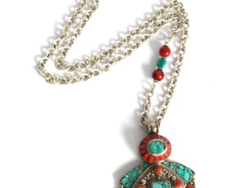 Asymmetrical Native inspired nepalese Handcrafted Pendant Turquoise Red coral inlay Buddhist jewelry layering Bohemian necklace by Inali