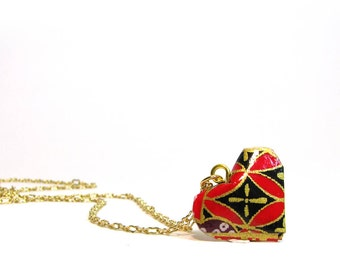 Origami Heart Necklace Red Heart Necklace 4